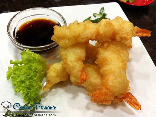 Receta de camarones en tempura