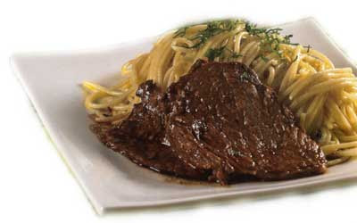 Receta Bistecs al Jugo con Espaguetis