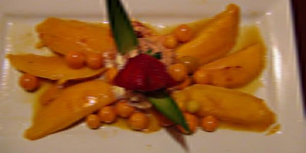 Receta de Mango flameado con ron