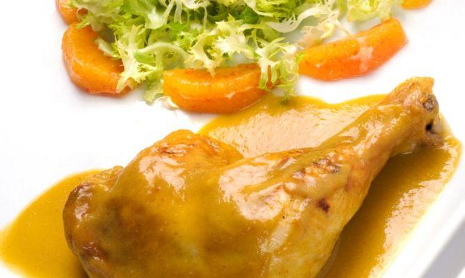 Receta Muslos de pollo con mandarina
