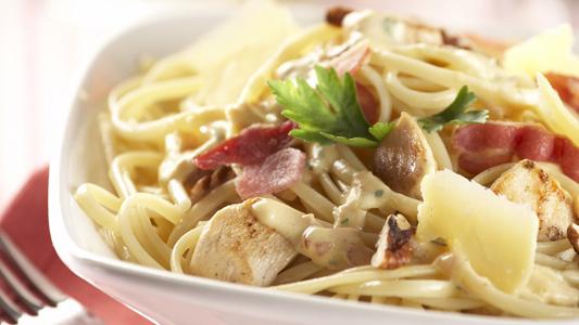 Receta de Espagueti Carbonara con pollo