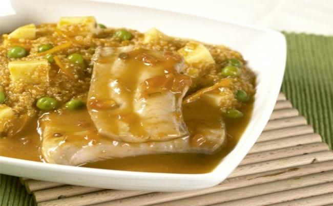 Ajiaco de quinua con pescado