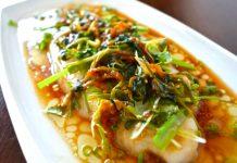 Receta de pescado al vapor con kion y cebollita china